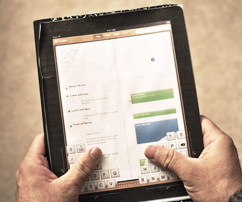 iPad thumb keyboard concept - holding mockup