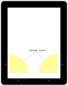 iPad thumb keyboard concept - thumb-zone